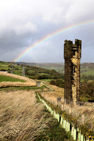 Rainbow over old tower, Shibden Valley